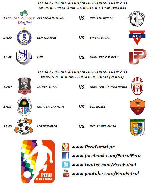 Programación - Fecha 2 (Torneo Apertura - División Superior 2013)