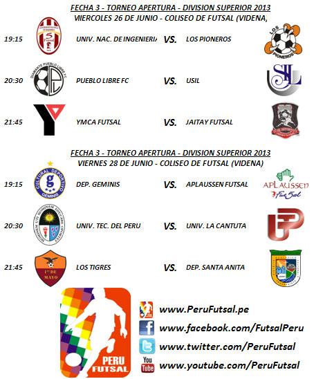 Programación - Fecha 3 (Torneo Apertura - División de Honor 2013)