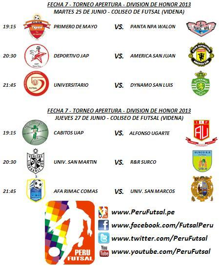 Programación - Fecha 7 (Torneo Apertura - División de Honor 2013)