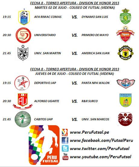 Programación - Fecha 8 (Torneo Apertura - División de Honor 2013)