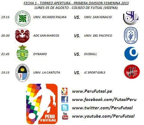 Programación - Fecha 1 (Torneo Apertura - Primera División Femenina 2013)