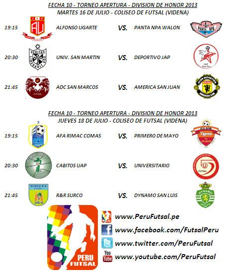 Programación - Fecha 10 (Torneo Apertura - División de Honor 2013)