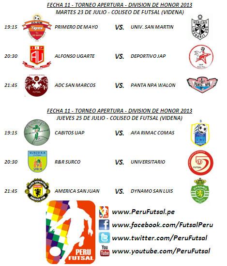 Programación - Fecha 11 (Torneo Apertura - División de Honor 2013)