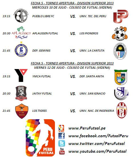 Programación - Fecha 5 (Torneo Apertura  - División Superior 2013)