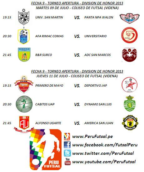 Programación - Fecha 9 (Torneo Apertura - División de Honor 2013)