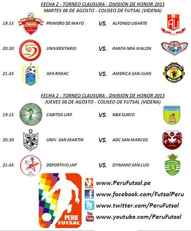 Programación - Fecha 2 (Torneo Clausura - Div. Superior 2013)
