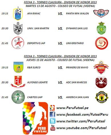 Programación - Fecha 3 (Torneo Clausura - División de Honor 2013)