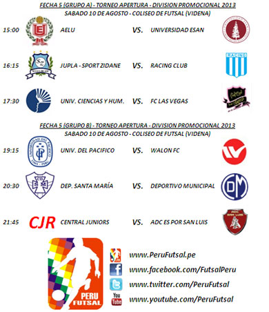 Programación - Fecha 5 (Torneo Apertura - División Promocional 2013)