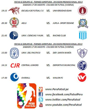 Programación - Fecha 6 (Torneo Apertura - División Promocional 2013)