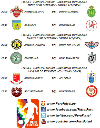 Programación - Fecha 6 (Clausura -División de Honor 2013)