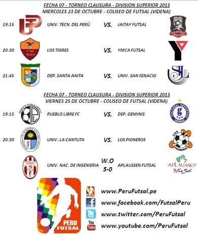 Programación - Fecha 7 (Torneo Clausura - División Superior 2013)