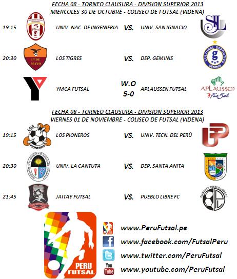 Programación - Fecha 8 (Torneo Clausura - División Superior 2013)