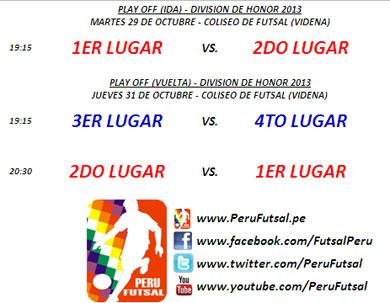Programación - Play Off (Ida y Vuelta - División de Honor 2013)
