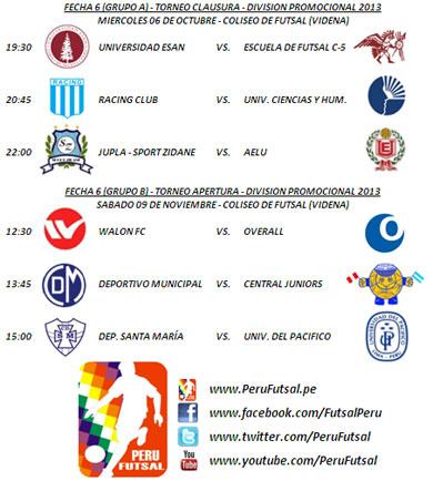 Programación - Fecha 6 (Clausura - División Promocional 2013)