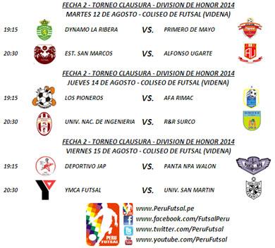 Programación - Fecha 2 - Clausura - División de Honor 2014