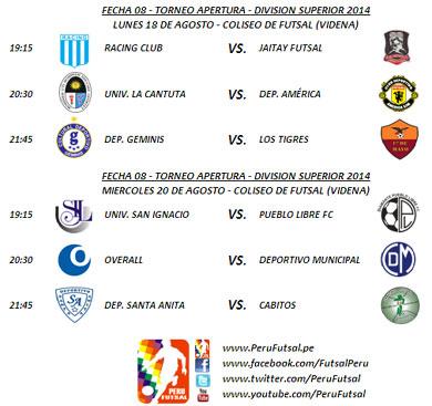 Programación - Fecha 8 - Apertura - División Superior 2014
