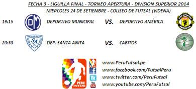 Programación - Fecha 3 - Liguilla Final - Apertura - Div. Superior 2014