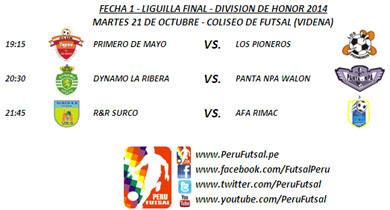 Programación - Fecha 1 - Liguilla Final - División de Honor.