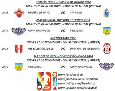 Programación - Play Off (Ida y Vuelta) / Tercer Lugar - División de Honor 2014