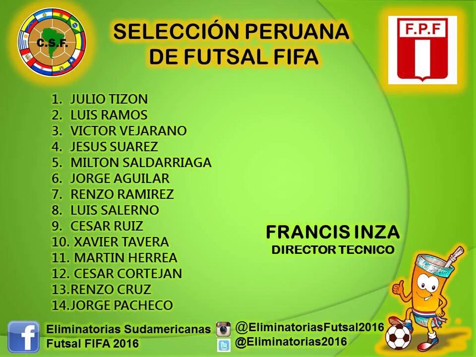 Plantel - Selección Peruana - Eliminatorias Colombia 2016