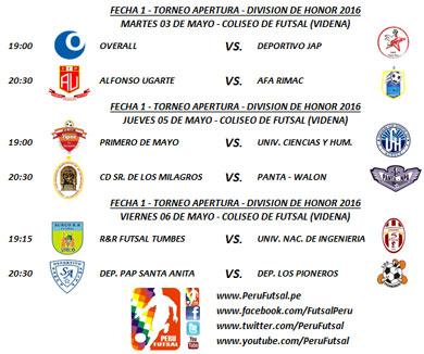 Programación - Fecha 1 - Torneo Apertura - División de Honor 2016