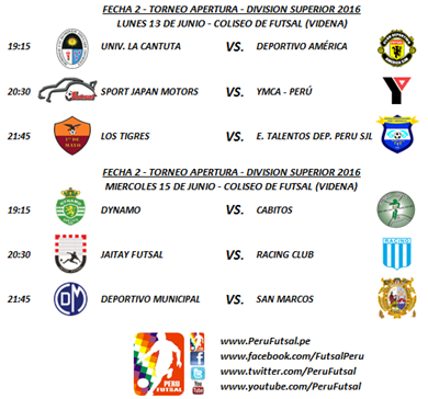 Programación - Fecha 2 - Apertura - División Superior 2016