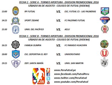Programación - Fecha 1 - Apertura - División Promocional 2016