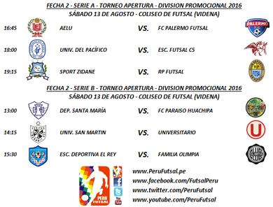 Programación - Fecha 2 - Apertura - División Promocional 2016
