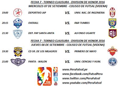 Programación - Fecha 7 - Clausura - División de Honor 2016
