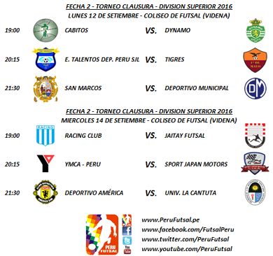 Programación - Fecha 2 - Clausura - División Superior 2016