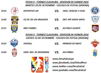 Programación - Fecha 9 - Clausura - División de Honor 2016