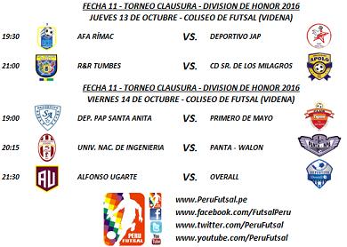 Programación - Fecha 11 - Clausura - División de Honor 2016