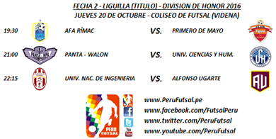 Programación - Fecha 2 - Liguillas - División de Honor 2016