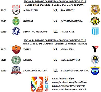Programación - Fecha 5 - Clausura - División Superior 2016