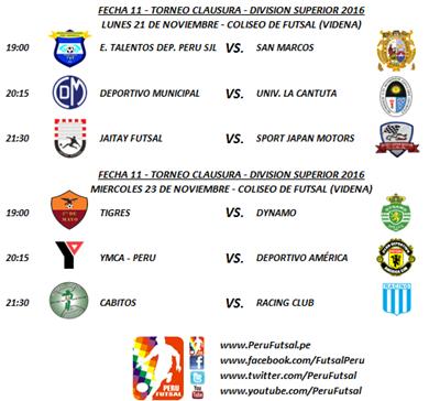 Programación - Fecha 11 - Clausura - División Superior 2016