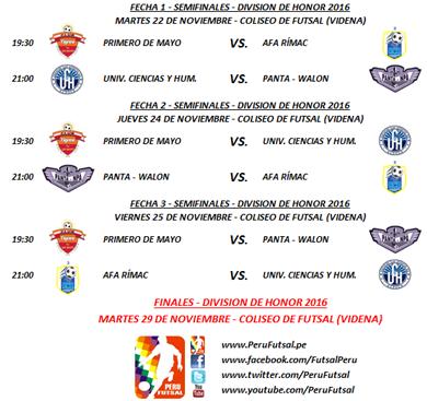Programación - Semifinales - División de Honor 2016